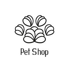 Original pet shop logo with pet paw vector image vector image