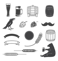 set of craft beer elements isolated on the white vector image