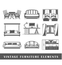 set of elements of the furniture vector image vector image