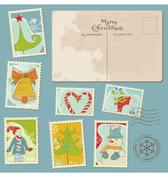 vintage christmas stamps vector image vector image