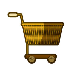 Yellow aged silhouette of shopping cart vector