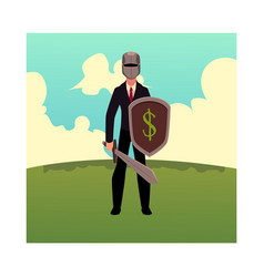 businessman as knight in metal helmet holding vector image vector image