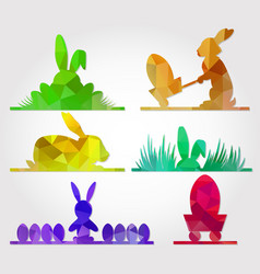 easter polygonal triangle design with bunny vector image vector image