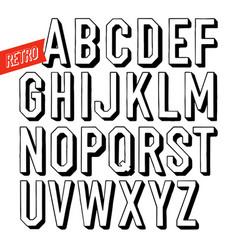 handmade retro font black letters on white vector image vector image