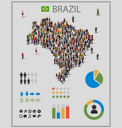 large group of people in form of brazil map with vector image vector image