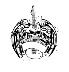 skull punk with guitar vector image
