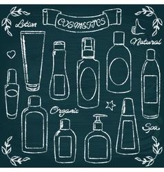 Chalkboard cosmetic bottles set 1 vector image vector image