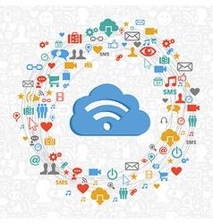 Cloud computing service circle vector image