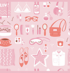 fashion girl clothing and accessories vector image