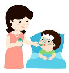 Mother giving son medicine vector