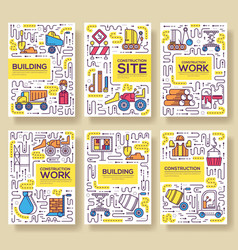thin line people at road works brochure cards set vector image