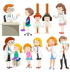 Boys and girls visiting doctors vector image vector image