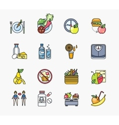 Collection of Icons on Theme Diet vector image vector image