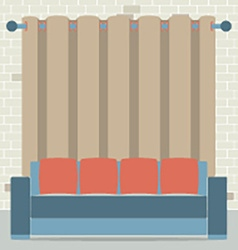 Empty Sofa In Front Of Brown Curtain And Brick vector image