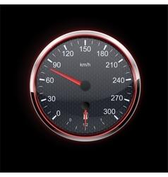 Speedometer on black background red backlight vector image