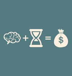 time brain money profit concept vector image vector image