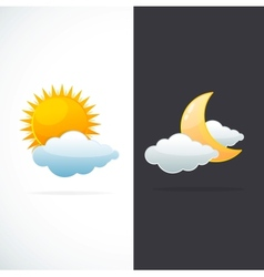 weather icons sun and moon vector image vector image