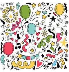 07-09-048 hand drawn party doodle happy birthday vector