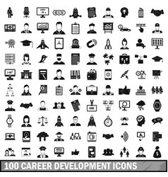 100 career development icons set simple style vector