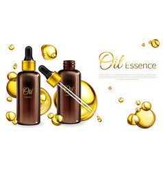 3d realistic oil essence ad poster vector