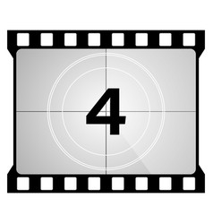 A classic movie countdown frame at number four vector
