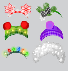a set of hat and headbands in the style of vector image