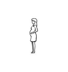A woman with a fetus in womb hand drawn outline vector