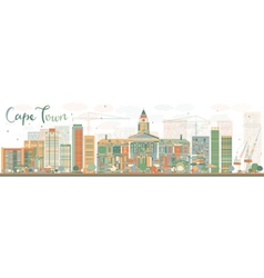 Abstract Cape Town skyline with color buildings vector