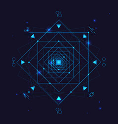 Alchemy geometry symbol thin line vector