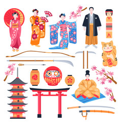 Ancient japan flat set vector