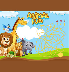 animals maze game template vector image