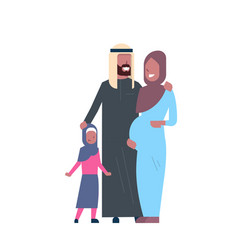 Arab pregnant mother father daughter full length vector