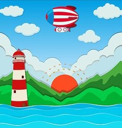 Balloon flying over the ocean vector