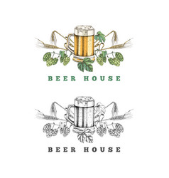 beer house logo template vector image