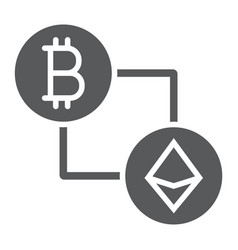 bitcoin vs ethereum glyph icon finance and money vector image
