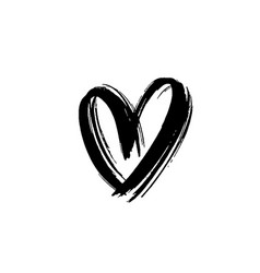 black heart icon object hand drawn love symbol vector image