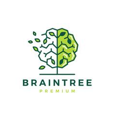 Brain tree smart natural leaf logo icon vector