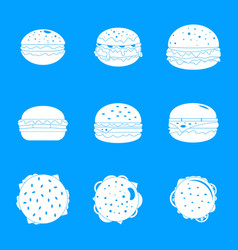 Burger sandwich bread bun icons set simple style vector