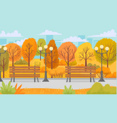 cartoon autumn park yellow trees city parks vector image