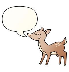 cartoon deer and speech bubble in smooth gradient vector image