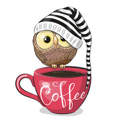 Cartoon owl is sitting on a cup coffee vector