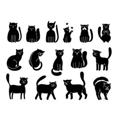 cats silhouettes on white elegant cat icons vector image