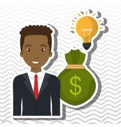 Character bag money idea vector