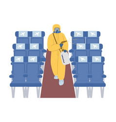 cleaning and disinfection aircraft cabin vector image