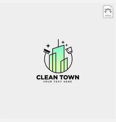 Cleaning service city town logo template icon vector