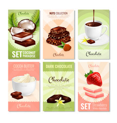 Cocoa products cards collection vector