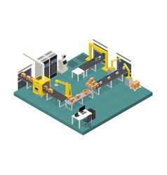 conveyor line factory interior with isometric view vector image