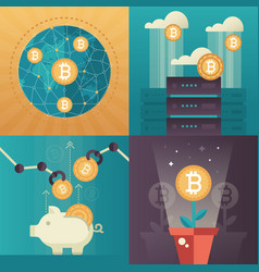 Cryptocurrency - set of colorful flat design style vector