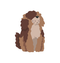 Cute shaggy dog funny pet character furry human vector