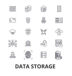 data storage line icons editable strokes flat vector image